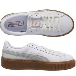 PUMA Women's Platform  100% Leather Sneaker